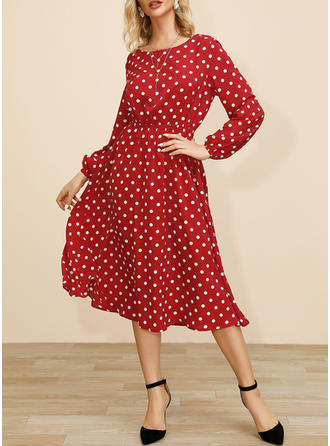 PolkaDot Long Sleeves A-line Christmas/Casual/Elegant Midi Dresses