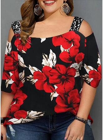 Floral Impresión Lentejuelas Top Con Hombros Mangas 3/4 Casual camiseta