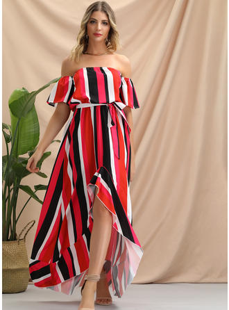 Striped Short Sleeves A-line Asymmetrical Sexy/Party Dresses
