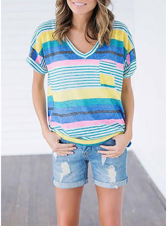 Cotton Blends V Neck Striped Short Sleeves Casual Blouses