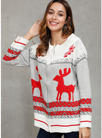 Print Cartoon Christmas Round Neck Sweaters