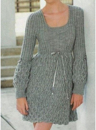 Solid Long Sleeves A-line Above Knee Casual Dresses