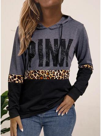 Print Color Block Leopard Lange ærmer Hoodie