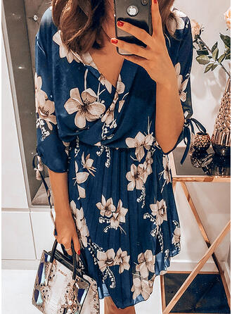 Print 1/2 Sleeves A-line Knee Length Casual Dresses