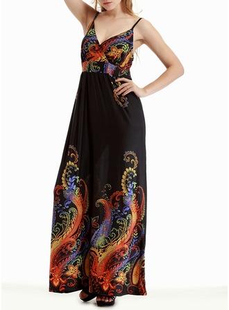 Print Sleeveless A-line Maxi Dresses