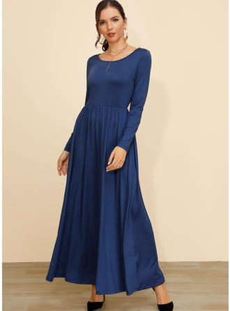 Solid Long Sleeves A-line Maxi Casual/Elegant Dresses
