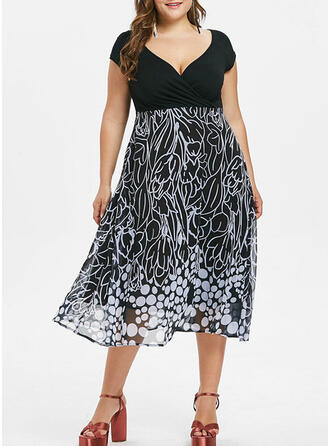 Print Short Sleeves A-line Knee Length Casual/Plus Size Dresses
