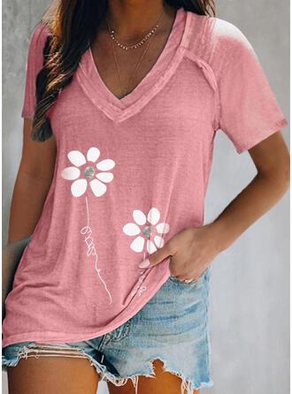 Figur Blomstrete Trykk V-hals Kortermer T-skjorter