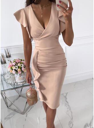 Solid Short Sleeves Ruffle Sleeve Bodycon Knee Length Elegant Pencil Dresses