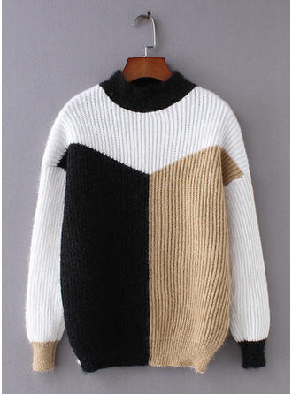 Cotton Crew Neck Color Block Sweater