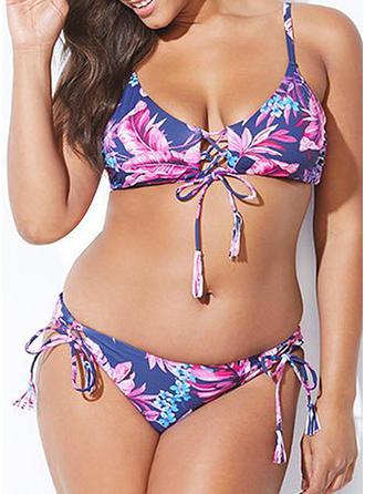 Kwiatowy Pasek Seksowny Duży rozmiar Bikinis Kostiumy Kąpielowe