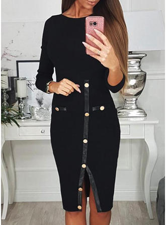 Solid 3/4 Sleeves Sheath Knee Length Casual Dresses
