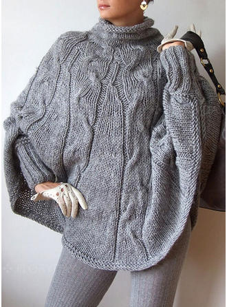 Pulls en Mohair Col Roulé Couleur unie Pulls Tricot à Câble Gros tricot Pulls