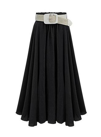 Bomull Solid färg Midi pläterade kjolar