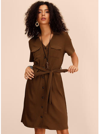 Solid Short Sleeves A-line Knee Length Casual Dresses