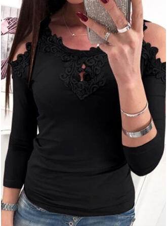 Solid Lace Cold Shoulder Long Sleeves Casual T-shirts
