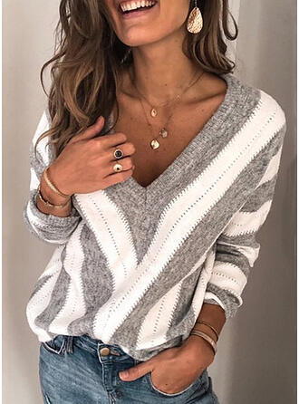 Striped Chunky knit V neck Sweaters