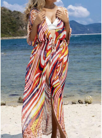 Stripe Print Vintage Boho Cover-ups Swimsuits