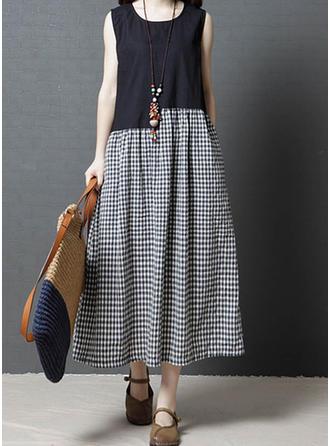 Plaid Sleeveless Shift Maxi Casual Dresses