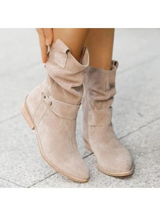 Женский замша Толстый каблук ботинки с пряжка Молния Сплошной цвет обувь