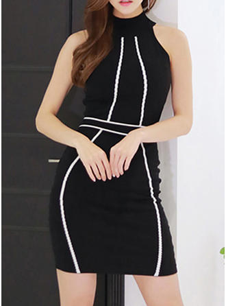 Color-block Sleeveless Bodycon Above Knee Casual Dresses