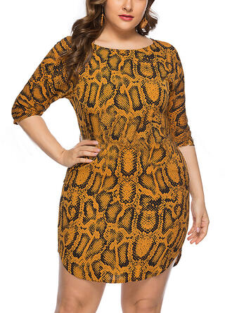 Print 3/4 Sleeves Sheath Above Knee Casual/Plus Size Dresses