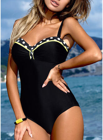 Dot Patchwork Strap Elegant Casual One-piece Swimsuits
