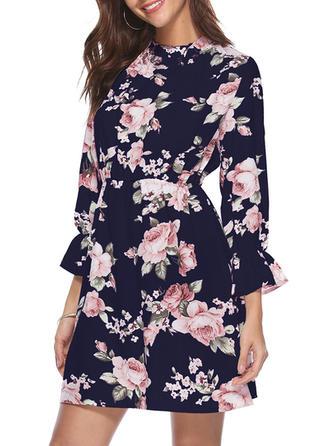 Floral Round Neck Above Knee Sheath Dress
