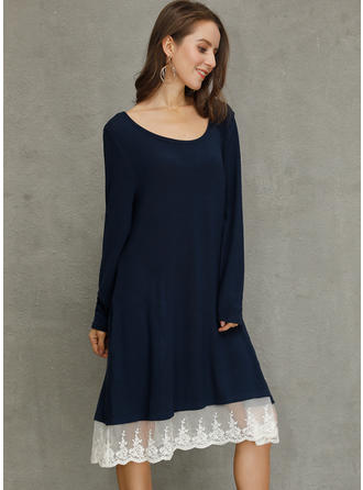 Lace/Solid Long Sleeves Shift Knee Length Casual Dresses