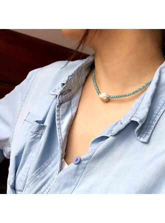 Simple Attractive Alloy Crystal Turquoise Necklaces