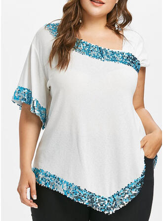 Sequins V-Neck Short Sleeves Casual Plus Size Blouses