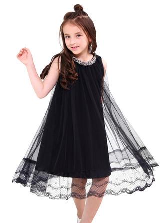 Dziewczyny Zabudowany Dekolt Solidny Nieformalny Sukienka