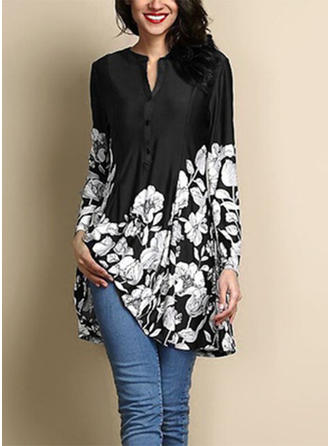 Cotton Blends Round Neck Floral Long Sleeves Button Up Blouses