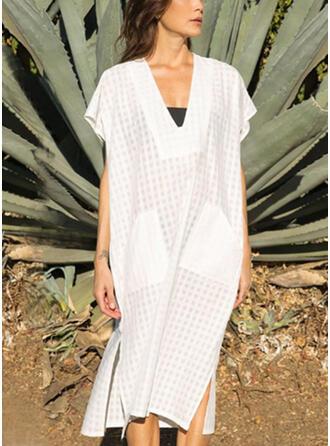 Solid Short Sleeves Shift Casual/Vacation Midi Dresses