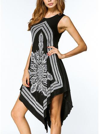 Print Bohemian Round Neck Asymmetrical Shift Dress