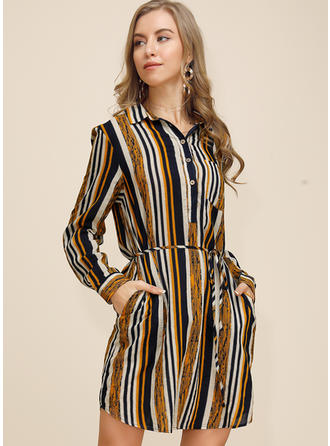 Striped Long Sleeves A-line Above Knee Casual Dresses