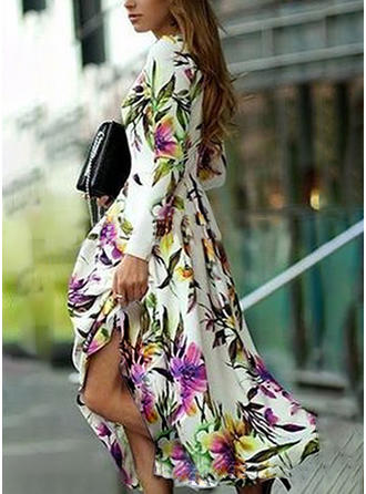 Print/Floral Long Sleeves A-line Maxi Casual/Party/Elegant Dresses