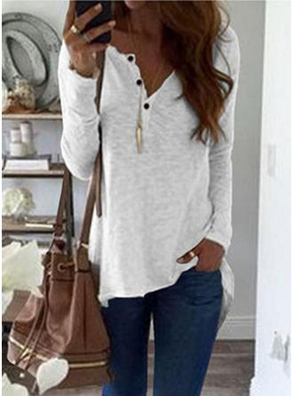 Solid V-neck Long Sleeves Button Up Knit T-shirts