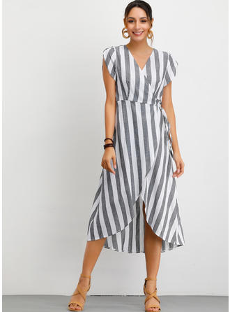 Striped Short Sleeves A-line Midi Casual/Elegant Dresses