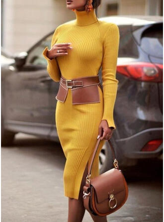 Solid Ribbed Turtleneck Casual Long Sweater Dress