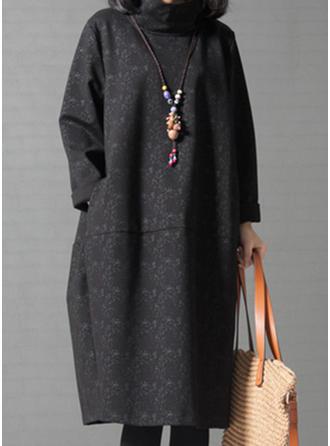 Długie rękawy Koktajlowa Kolano Długość Nieformalny Sukienki