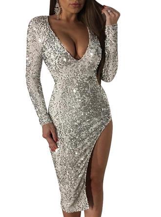 Cekiny Solidny Litera V Midi Sukienka Dopasowana