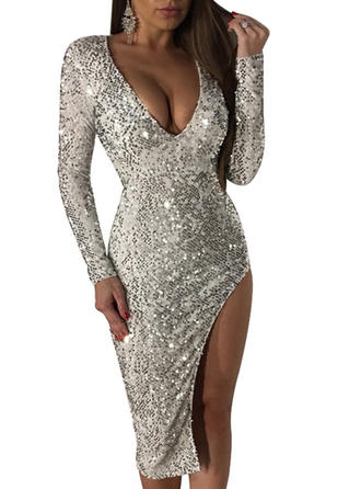 Sequins Solid V-neck Midi Sheath Dress