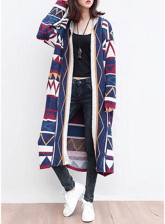 Cotton Long Sleeves Geometric Print Cardigans