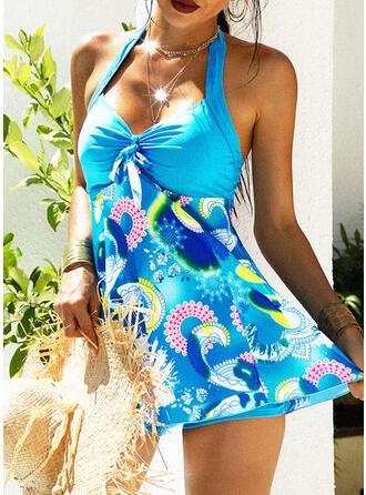 Floreale Stampa A bikini Scollatura a V Sexy Stile vintage Taglia grossa Tankini Costumi Da Bagno