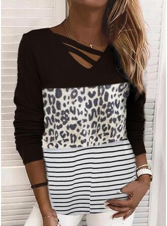 Farbblock Leopard Gestreift V-Ausschnitt Lange Ärmel T-Shirts