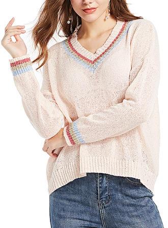 Bawełna V-neck Prążek Swetry