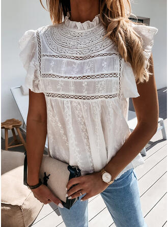 Solid Lace Stand collar Cap Sleeve Casual Blouses