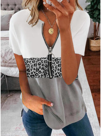 Цветной блок леопард V шеи С коротким рукавом Повседневная Блузы