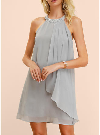 Solid Sleeveless Shift Above Knee Party Dresses